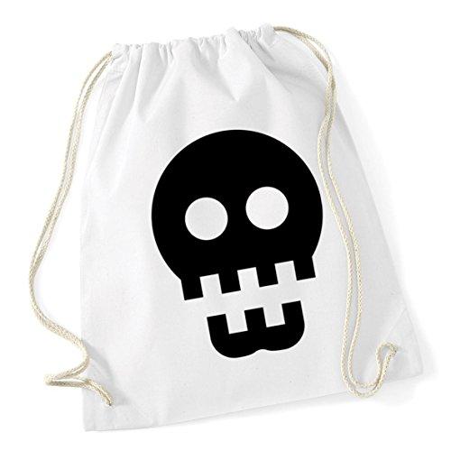 White x 46cm School Kid Skull HippoWarehouse Cotton 12 Drawstring Bag litres Gym Sack 37cm icon nn6qFPv