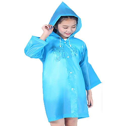 Raincoat Rain Poncho Jacket Slicker Outwear for Children[Thicker & Reusable & Lightweight] Rain&Wind Coat Cloak Wear for 6-12 Years Old Boys&Girls for Theme Park, Cool Unique Gift for Kids-Blue