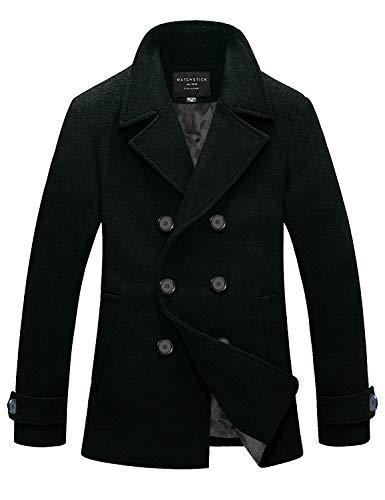 Match Mens Wool Blend Classic Pea Coat Winter Coats(010, Dark Green Large)