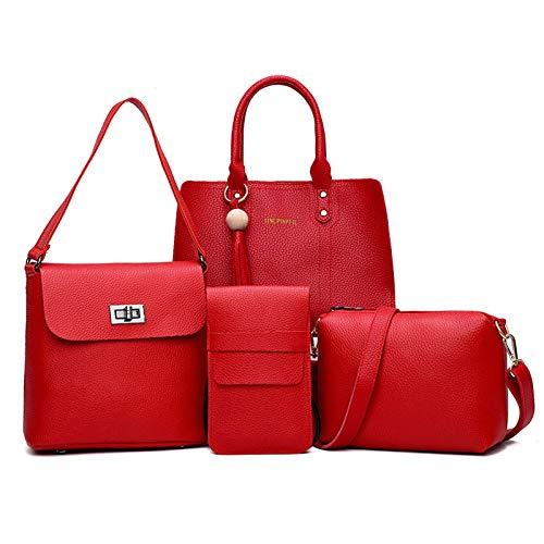 LUCKYCCDD Set Di Borse Da Donna 4 PezziModa Eleganti Casual Borse A Mano+Piccola Borse Tracolla+Portafoglio Donna+Borse A Spalla In,Red Red