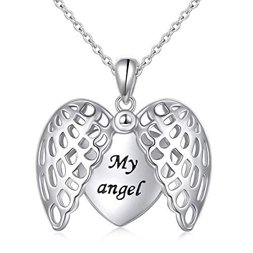 FLYOW 925 Sterling Silver Angel Wings Heart Necklace My Angel I Love You Locket Necklace for Women ()