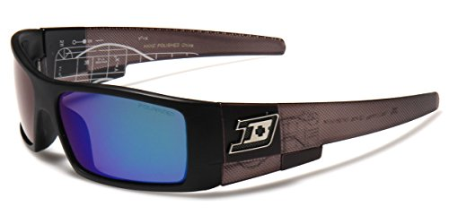 Polarized Rectangular Men's Sport Fishing Golf Sunglasses with Color Mirror - Sunglasses Dxtreme