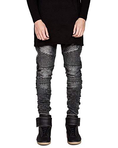 Cerniera Svago Jeggings Denim Fit Uomo Trapuntato Jeans Di 02grau Stretch Biker Semplice Stile Pantaloni Slim HCq8w