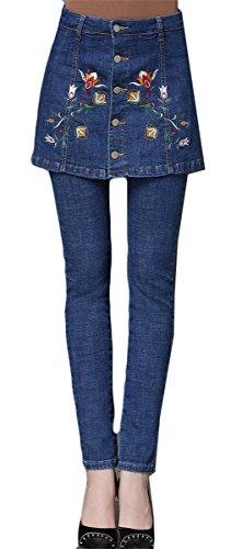Femmes Fille Faux 2 PCS Haute taille Broderie Stretchy Bodycon Jupes Skinny Denim Pants Pantalons Jeans Bleu