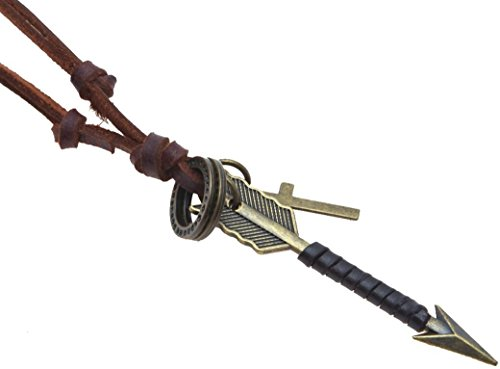 (Making up Adjustable Brown Black Leather Chain Arrow Cross Rings Pendants Necklace,17-33''+3'' (Dark Brown))
