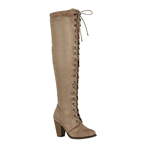 - ShoBeautiful Womens Chunky Heel Over The Knee High Riding Boots Lace up Corset Thigh High Combat Boots Winter Shoes Brown 10