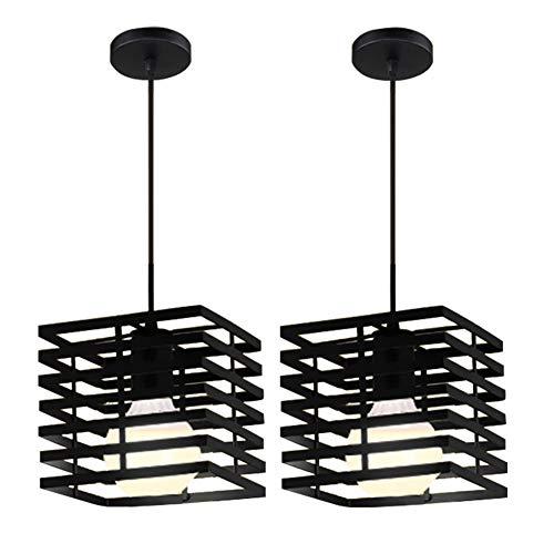 2 Set (L)21×(D)21×(H)18cm 2 × Suspension Lustre Vintage Grenier Bar Plafonnier Lampe Suspendue avec Ombre De Fer Droplumière E27 Suspension Fixation pour Bar Restaurant Chambre Salle à Manger