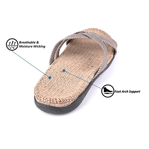 Flammi Womens Cross Strap Flax Slippers Slide Sandals With Arch Support Khaki emxZmDP