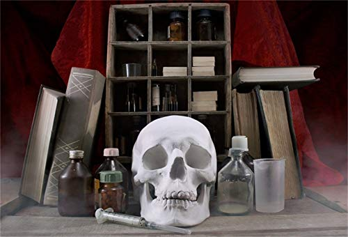 LFEEY 7x5ft Halloween Magic Potion Ingredient Bottles Background Wizard Witch Room Skull Photography Backdrop Spellbooks Magic Power Chemical Book Bookshelf Photo Studio Props Vinyl Banner