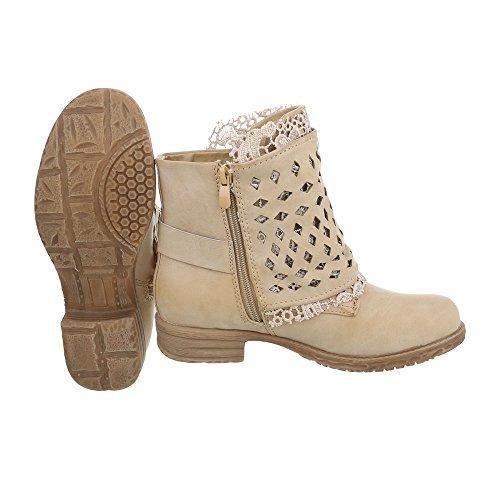 Women's Boots Block Heel Cowboy & Biker Ankle Boots at Ital-Design Beige 32a8R51