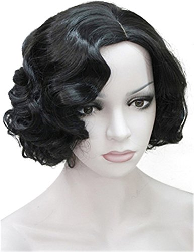 Black Costumes People Best (ROLECOS Sexy Flapper Wigs Short Wavy Marilyn Monroe Costume Wig Halloween Cosplay Black)