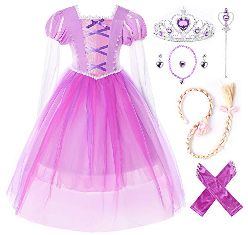 JerrisApparel Girls Birthday Party Costume Princess Rapunzel Dress Long Mesh Sleeves (3T, Purple with Accessories)]()