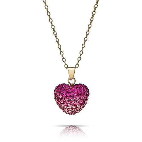 an Crystal Heart Pendants in 18 inch chain (ROSE) (Pave And Crystal Necklace)