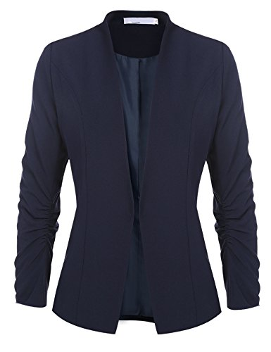 Buckle Front Jacket (Women's Cotton Rolled Up Sleeve No-Buckle Blazer Jacket Suits Navy Blue/S)