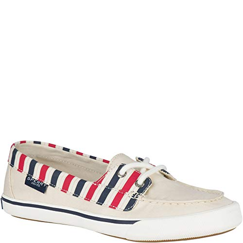 Sperry Top-Sider Lounge Away Stripe Sneaker Women 7.5 Natural/Red