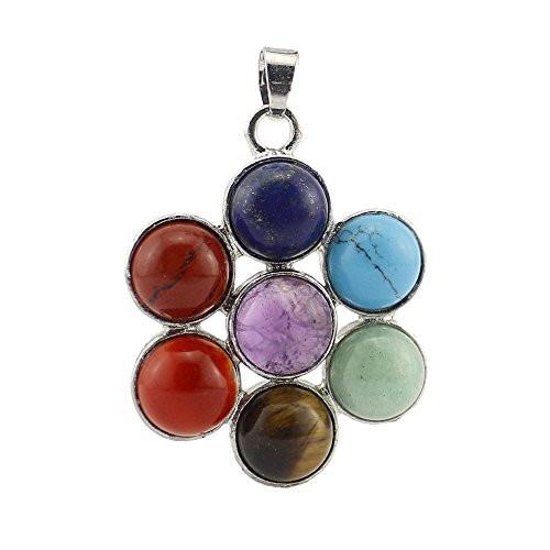 Happy Hours - 1 Pc 7 Chakra Stone Crystal Pendant / Natural Charm Gemstone Pendant Beads Balancing Healing Reiki(Petal)