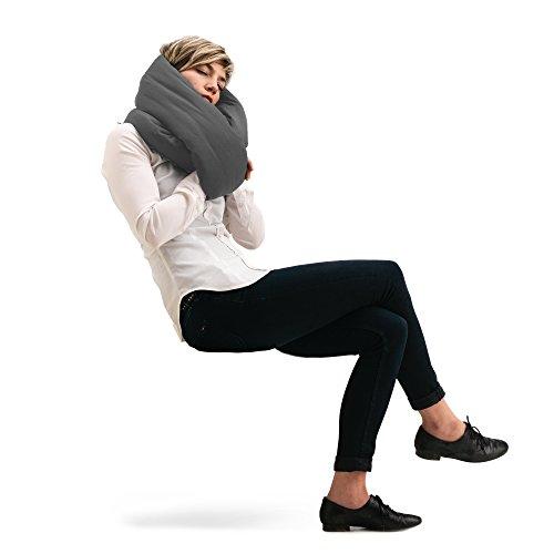 Huzi Infinity Pillow - Design Power Nap Pillow, Travel and Neck Pillow (Grey)