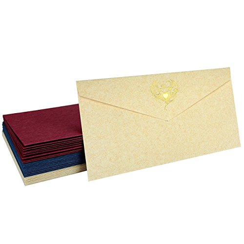 Invitation Envelopes,Yoption 30 Pack Europeanism Retro Gold Stamping Envelopes,Perfect for The Holidays,Invitations,Social Mailings,Greeting Cards and More (Europeanism Retro Gold Stamping Envelopes)