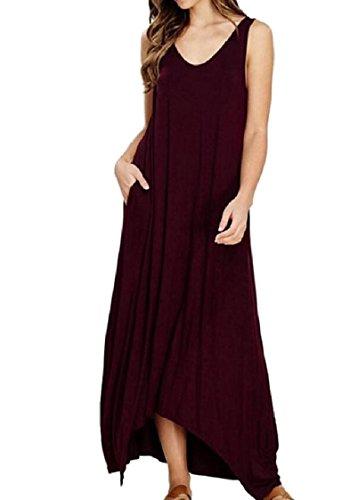 Coolred-femmes Avec Poche Sans Manches Sangle Garniture Maxi Solide Longue Robe Rouge Vin