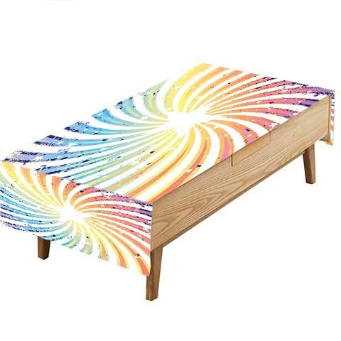 PINAFORE Indoor/Outdoor Spillproof Tablecloth Spiral Starburst Design Rainbow Stripes ed Great Buffet Table, Parties,Wedding & More W52 x L70 INCH