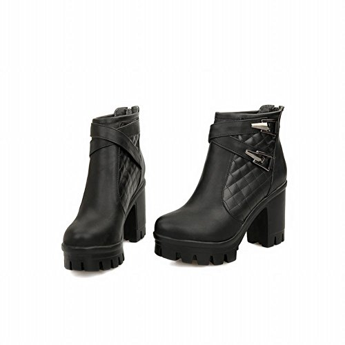 Charm high Latasa Zips Boots Decoration Platform Black Buckles Chunky heel Ankle Womens Back High Western ABAqgxt