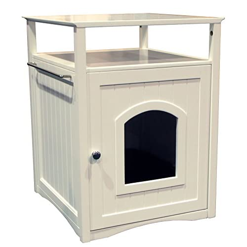 White Hidden Cat Litter Box End Table Furniture Washroom