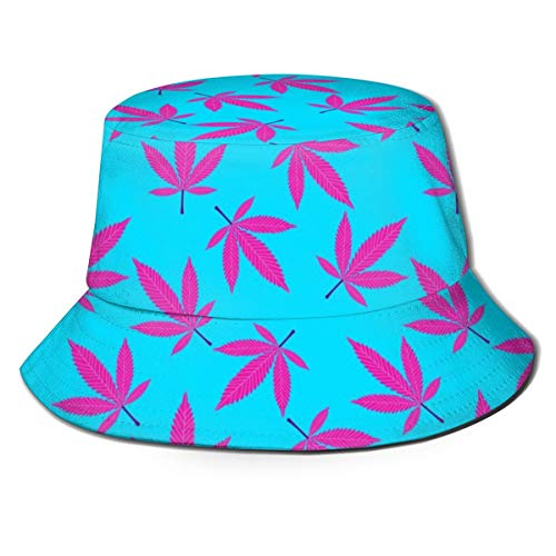 Unisex Bucket Hat Purple Maple Leaf Pattern Printed Outdoor Sun Hat Summer Travel Outdoor Cap