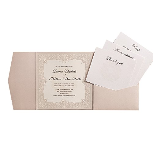 50X WISHMADE Ivory Tri-Fold Shimmer Pearl Square Chic Pocket Invitation Kit with Envelope RSVP,Thank You Card for Wedding Engagement Anniversary Birthday Dinner Party Quinceañero AW5501