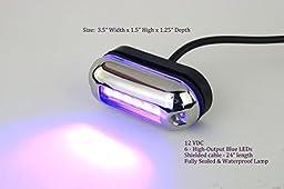 Waterproof Underwater Marine LED Pod Light - BLUE LED, Heavy duty, Waterproof 12 VDC