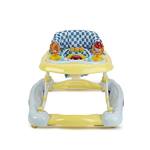 Rocker Sky Blue - Big Oshi 3 in 1 Baby Walker, Rocker & Activity Center on Wheels - Convertible Walker to Rocker with Tray Table Baby Activity Center with Toys - Adjustable Seat, Sky Blue/Yellow