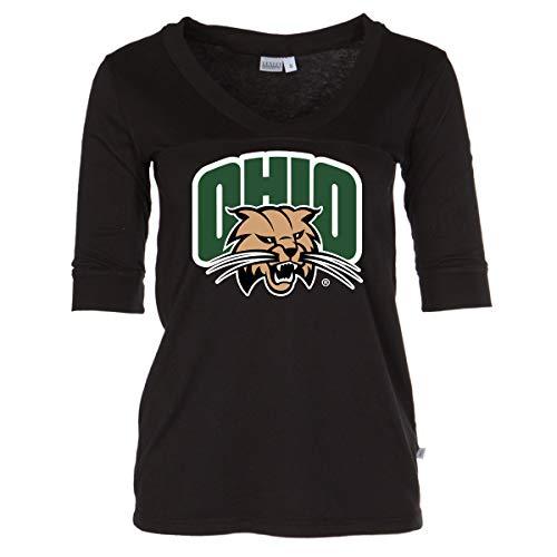Official NCAA Ohio University Bobcats - Women's 3/4 Sleeve Football V-Neck Tee