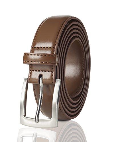 Belts for Men Mens Belt Buckle Genuine Leather Stitched Uniform Dress Belt - Tan (58)