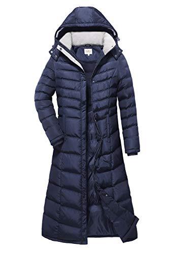 ELORA Women's Winter Heavy Quilt Jacket Fleece-Trim Hooded Long Down Puffer Coat (2X, Navy)