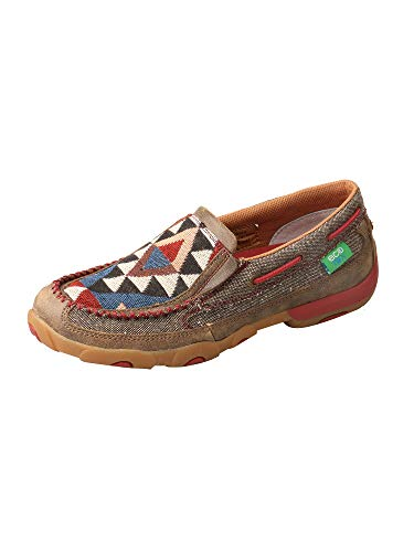Twisted X Women's ECO D Toe Driving Moc Printed Casual Slip-On Shoe - Dust/Multi