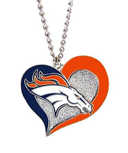 aminco NFL Denver Broncos Swirl Heart Necklace