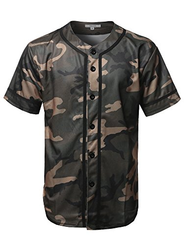 Youstar Camouflage Front Button Closure Athletic Baseball Jersey Green Camouflage 2XL