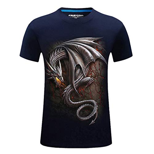 (T-Shirts for Men, MmNote Casual Round Neck Fire-Breathing Dragon Print Rock Style Modern Classic Elastic Antibacterial Tees Dark Blue)