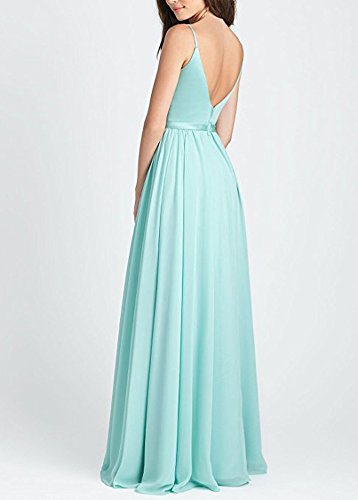 Women Straps V Spaghetti Dresses Long Neck Bridesmaid For BOwith White Prom Dresses Evening qP5SS