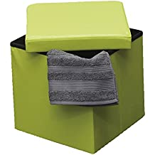 EVIDECO 2 in 1 foldable pouffe and storage box-LEATHER look 14 Inches Cube Faux Leather Folding Storage Ottoman (Lime Green)