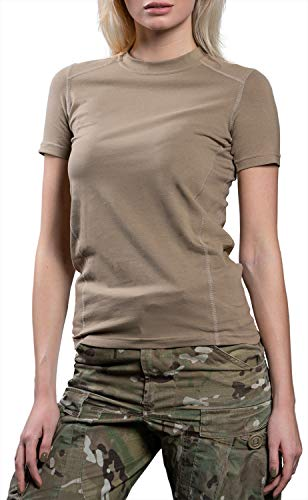 281Z Womens Military Stretch Cotton Underwear T-Shirt - Tactical Hiking Outdoor - Punisher Combat Line (Tan, Large) ()