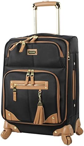 Steve Madden Designer 20 Inch Carry On Luggage Collection - Lightweight Softside Expandable Suitcase for Men & Women - Durable Bag with 4-Rolling Spinner Wheels (Harlo Black)