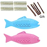 Cat Fish Shape Toothbrush Toys with Catnip, Silicone Refillable Simulation Teeth Cleaning Toy, Interactive Molar Chew Bite Matatabi Stick Catnip Supplies for Cats Kitten Kitty (Blue+Pink)