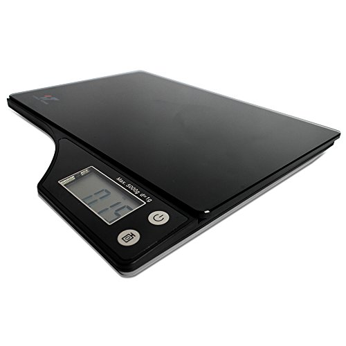 Yongtong Digital Kitchen Food Scale, Tempered Glass Surface, Household Cooking Weighing with Tare Feature, 2 AAA Batteries Included, with Highly Accurate Electronic LCD, 5000g / 11.lb / 176oz