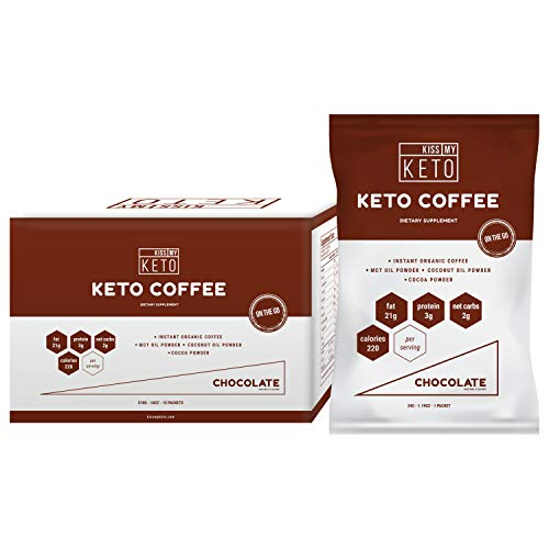 Kiss My Keto Chocolate Instant Coffee - Keto Coffee, Ketogenic Fat Coffee w Coconut Oil MCT Creamer for Ketosis and Ketone Diet. Low Carb, No Ghee Butter, Sugar Free Cafe Chocolate Coffee, 15 Servings ()