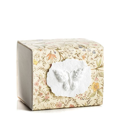 Florentine Urn - The FAVORITE PLACE Burial Urn Box, (Small Butterfly Box), Biodegradable for Ground Burial, Scattering Cremated Ashes in Earth Friendly Eco Urn, (Small, Florentine Flower)