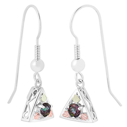 Round Mystic Fire Topaz Triangle Earrings, Sterling Silver, 12k Green and Rose Gold Black Hills Gold Motif