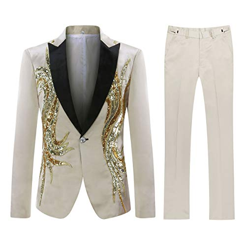 Mens Floral Sequin Embroidered Dress 2 Piece Suit Slim Fit Blazer Jacket & Pant Light Khaki