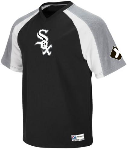 Chicago White Sox Majestic Black V-Neck Crusader Jersey