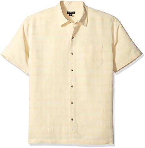 Van Heusen-Camisa manga corta de seda artificial estampada para hombre.