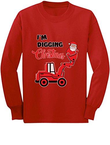 Santa I'm Digging for Boys Toddler/Kids Long Sleeve T-Shirt 4T Red ()